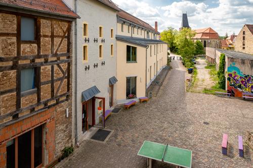 Blick von der Turnhalle der Waldorfschule in Weimar